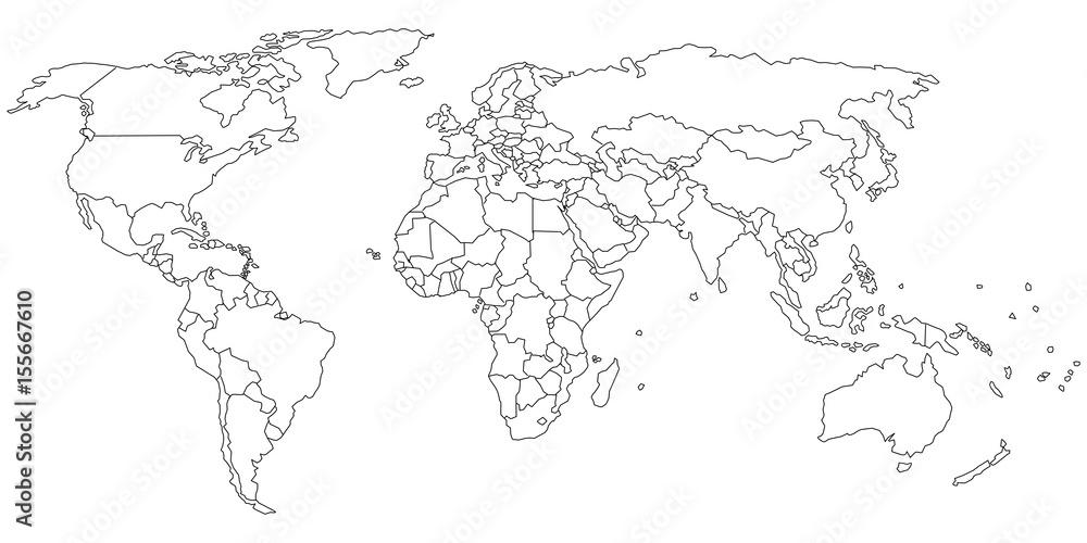Fototapeta Simple outline of world map on transparent background