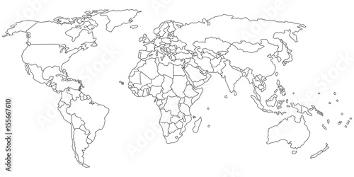 Simple outline of world map on transparent background
