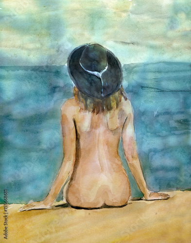 akwarela-malarstwo-kobieta-siedzi-na-plazy-morze-piasek-czas-letni