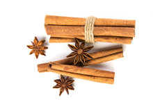Close Up The Brown Cinnamon Stick With Star Anise Spice Isolated On White Background , Overhead And Top View