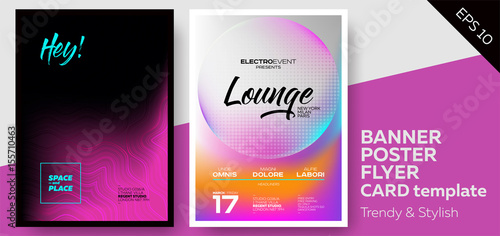 Music Covers for Summer Electronic Fest or Club Party Flyer  Lounge