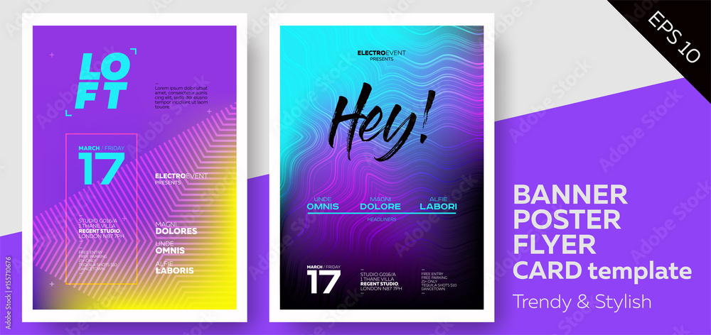 Fototapety, obrazy: Electronic Music Covers for Summer Fest or Club Party Flyer. Colorful Waves Gradient Background. Template for DJ Poster, Web Banner, Pop-Up.