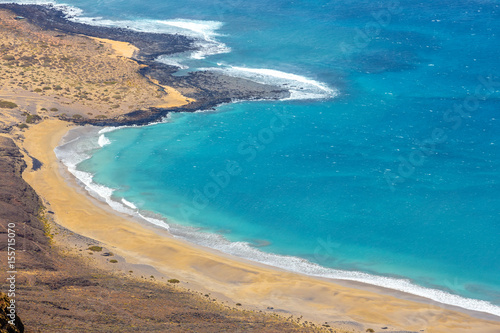 Canvas Prints Blue Impressive view from Mirador del Rio to island of La Graciosa, Lanzarote, Canary islands