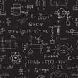 Vector seamless physics pattern. Chalk physics symbols on black blackboard.