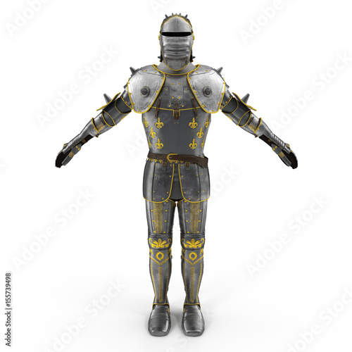 Old metal knight armour isolated on white Poster