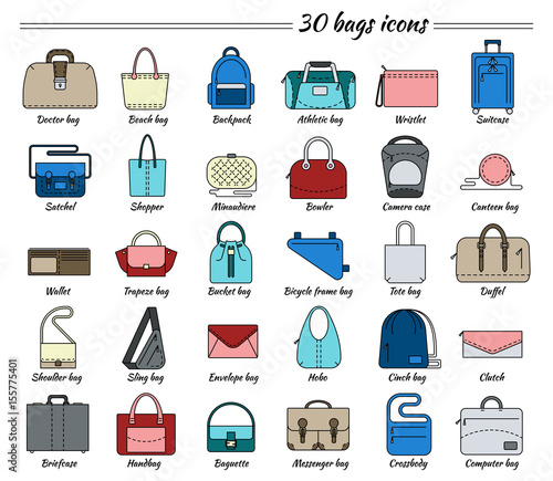62323392ad9 Set of 30 colorful pictures in linear style. Different types of bag.  Women s and men s handbag, duffel, purse, cases, clutch, satchel, suitcase,  backpack ...