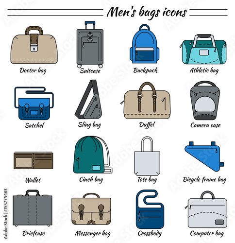 6617aa164f6 Set of 16 colorful pictures in linear style. Different types of men s bag.  Backpack, athletic, satchel, sling, camera case, wallet, briefcase,  messenger, ...