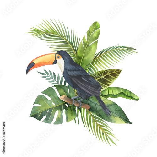 akwarela-bukiet-z-tropikalnych-lisci-i-tukan