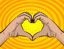 White Young Woman Handd Show Heart Sign