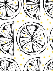 FototapetaHand drawn vector abstract unusual summer time seamless pattern with lemon slice and freehand texture isolated on white background.Fashion,menu,journalling,logo,design,brand,lemonade concept.