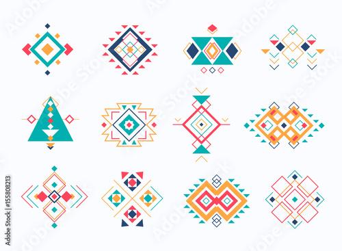 Foto auf AluDibond Boho-Stil Set of ethno tribal aztec symbols. colorful geometric ethnic decor elements collection.