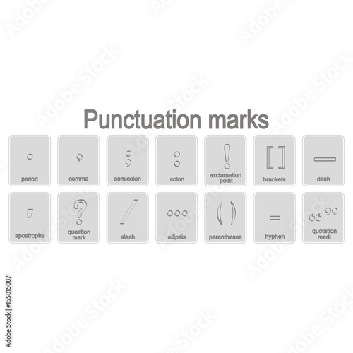 Fotografie, Obraz  monochrome icons set with punctuation marks for your design