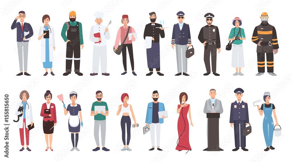 Fototapeta Set of different people profession. flat illustration. Manager, doctor, builder, cook, postman, waiter, pilot, policeman, photographer, fireman, veterinarian, teacher, maid, programmer and other.