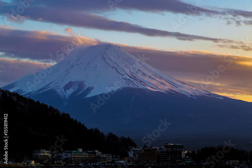 Poster Reflexion The Mt.Fuji.It's time for dusk.The shooting location is Lake Kawaguchiko, Yamanashi prefecture Japan.