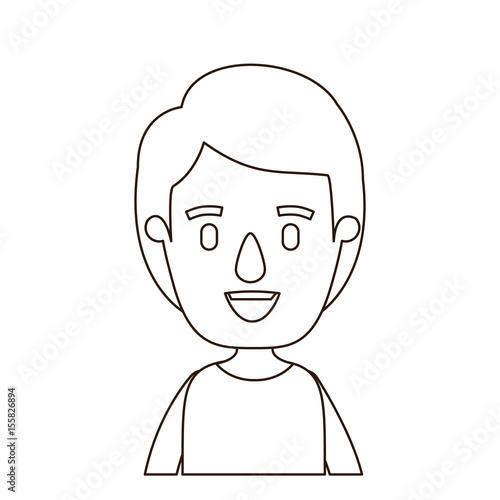 Sketch Contour Half Body Boy With Hairstyle Vector Illustration