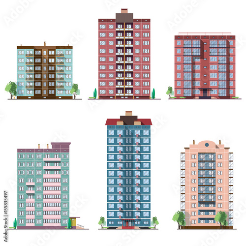Set of different panel residential houses. collection of colorful vector flat illustration. Fototapete