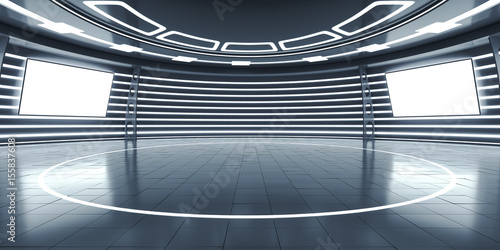 Fototapeta Abstract futuristic interior with glowing panels obraz