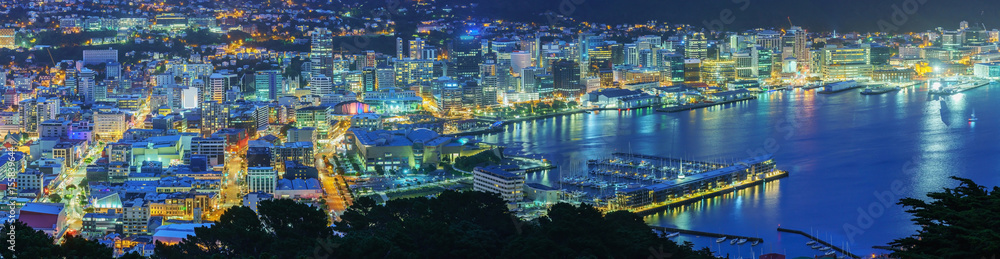 Fototapety, obrazy: Panoramic beautiful scenery from Mount Victoria lookout at night in Wellington , capital of New Zealand , North Island of New Zealand