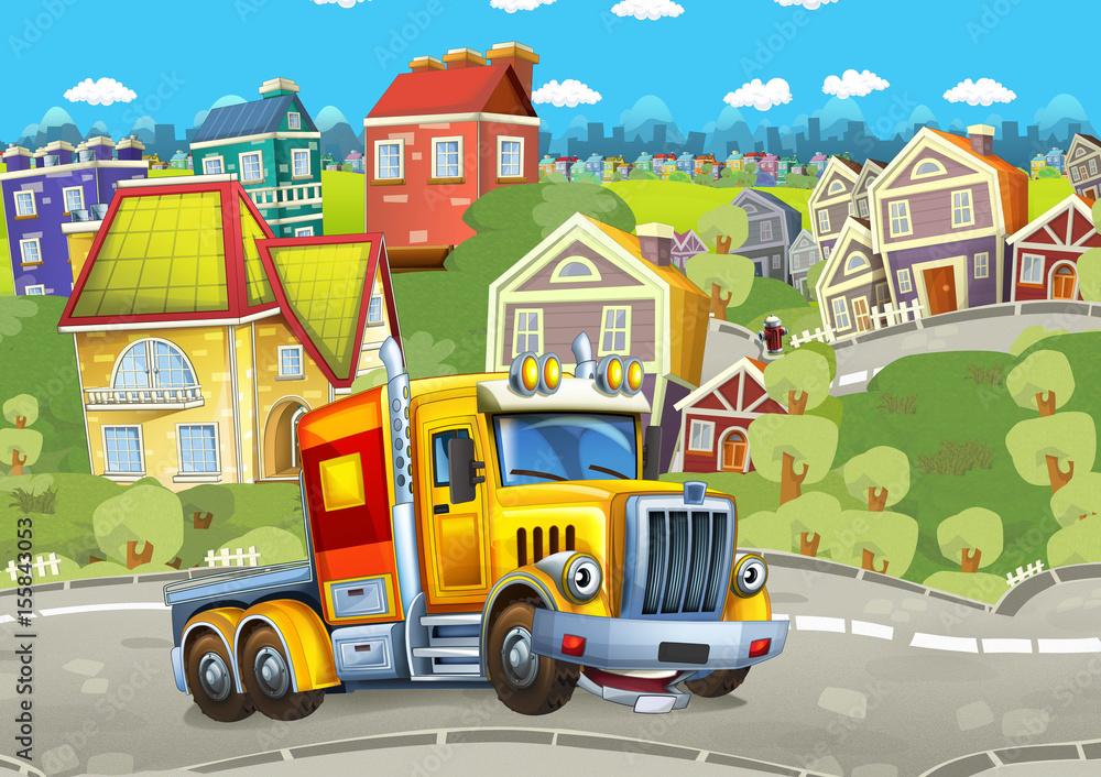 cartoon szczęśliwy ładunek ciężarówki bez przyczepy jazdy przez miasto <span>plik: #155843053 | autor: honeyflavour</span>