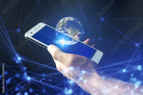 Deurstickers Nasa use smart phone connect to global Element of this image furnished by NASA