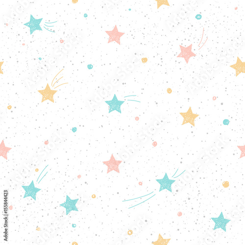 Handmade star seamless pattern background.