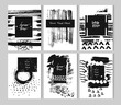 Hand drawn black and white textured artistic cards template set with plase for your text