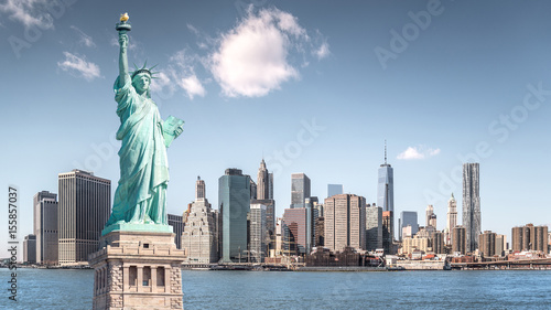 Poster New York The statue of Liberty, Landmarks of New York City with Manhattan building background
