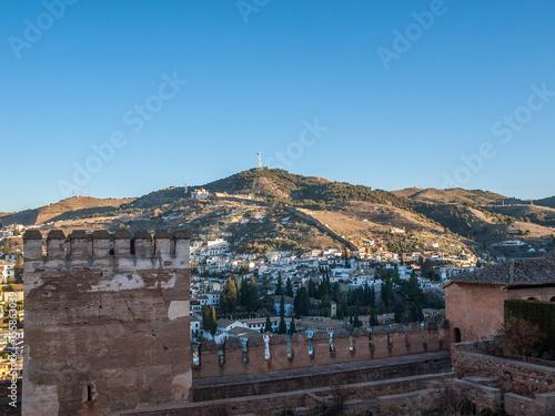Fotobehang Marokko Albaycin and Saint Nicolas viewed from Alhambra, Granada, Spain