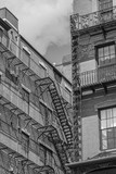 Black and White american building with rescue stairs - 155863433