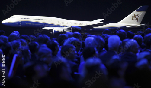 A scale model of a Boeing Business Jet sits displayed as the