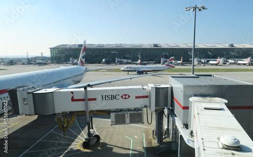 Advertising for HSBC bank is seen on a jetbridge to a