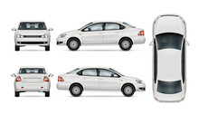 White Car Template For Car Branding And Advertising. Isolated Sedan On White Background. All Layers And Groups Well Organized For Easy Editing And Recolor. View From Side, Front, Back, Top.
