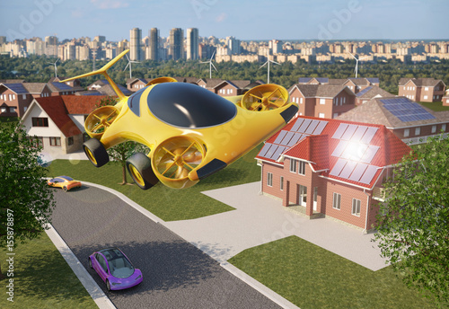 Fotografie, Obraz  Personal Air Vehicle Flying Above A Solar Powered City, Flying Car Of The Future