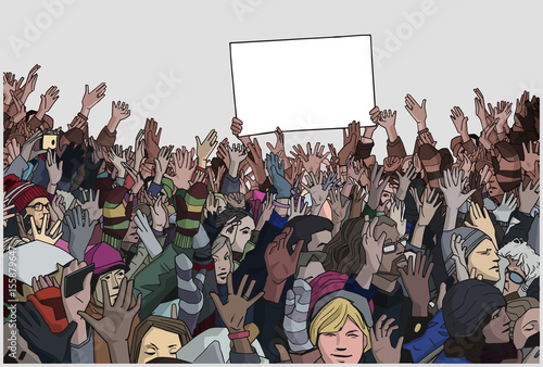 Fényképezés  Illustration of crowd protest with blank signs
