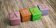 Letters Abcd On Wooden Blocks. 3d Illustration