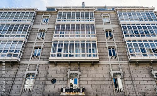 Typical building facades in La Coruña ocean front buildings