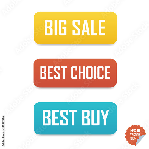 Big sale, best choice and best buy buttons  Isolated buttons