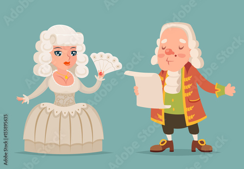 Photo Noble medieval lady lord aristocrat countess princess queen king mascot cartoon
