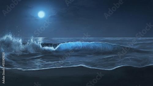 Photo Moonlit ocean waves