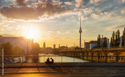 Foto op Canvas Berlijn Berlin Spree near Jannowitz-Bridge Sundown