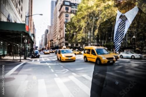 Door stickers New York Composite image of smiling businessman looking away