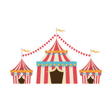 Circus Tent Tops. Red And White Stripes Flag On Top Vector Illustration