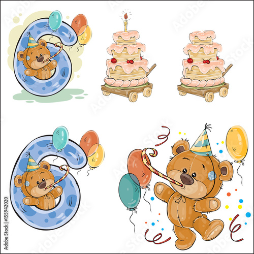 Set of vector illustrations with brown teddy bear birthday cake and set of vector illustrations with brown teddy bear birthday cake and number 6 prints m4hsunfo