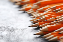 Yellow Pencils On Grey Wooden Table