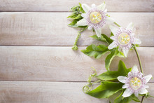 Passion Fruit Flower And Leaves, On Wood