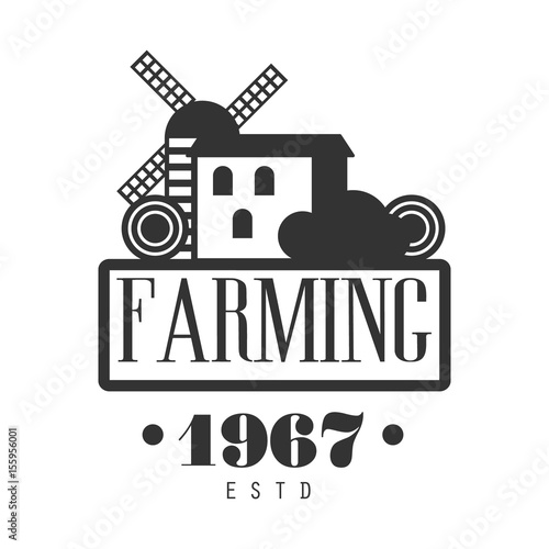Fotografia  Farming estd 1967 logo. Black and white retro vector Illustration