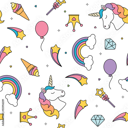 Valokuva  Unicorn and rainbow seamless pattern isolated on white background