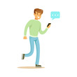 Young man walking and sending a message to someone using his smartphone colorful character vector Illustration