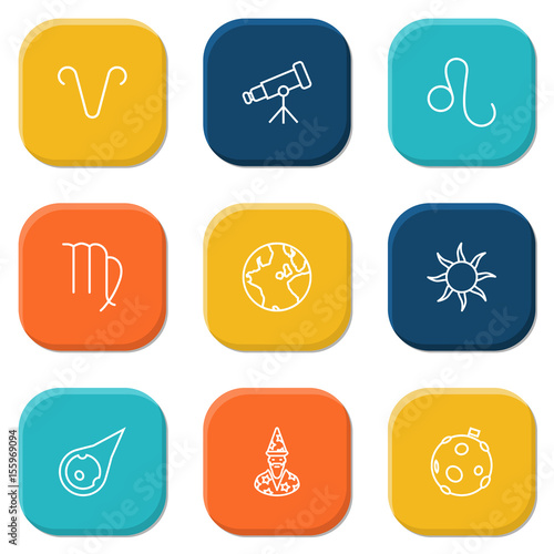 Photo Set Of 9 Astrology Outline Icons Set