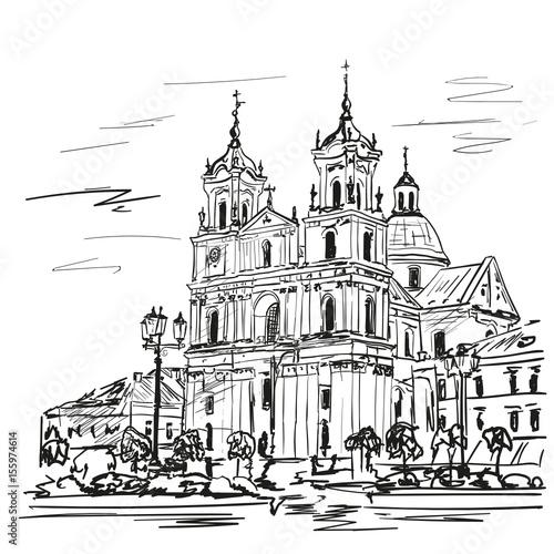 Foto auf AluDibond Gezeichnet Straßenkaffee church